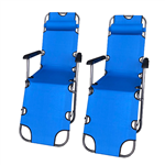 Foldable Zero Gravity Camping and Lounge Chair - Blue - Set of 2 - ALEKO