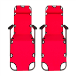 Foldable Zero Gravity Camping and Lounge Chair - Red - Set of 2 - ALEKO