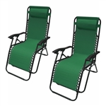 ALEKO 2FLCH-GR Outdoor Patio Foldable Chaise-Longue Leisure Pool Beach Chair, Green Color, Lot of 2