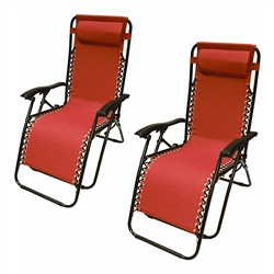 ALEKO 2FLCH-RD Outdoor Patio Foldable Chaise-Longue Leisure Pool Beach Chair, Red Color, Lot of 2
