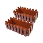ALEKO  2PP320TC Terra Cotta Thermoformed Plastic Picket Fence Nursery Seedlings Pots, Lot of 2