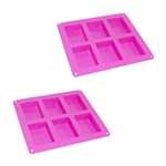 ALEKO 2SFC05 Rectangle Silicone Bread Mold Tray with 6 Bread Holes, Set of 2, Purple