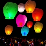 Chinese Sky Flying Wish Lantern Lamp - Multicolored - Pack of 50 - ALEKO
