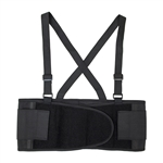 Lower Back Support Belt Brace with Straps - Black - Extra Large Size - ALEKO