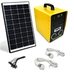 Solar Outdoor Generator Kit - Monocrystalline Solar Panel - LED Lights - Audio Player - 12 Volt - 100 Watt - ALEKO