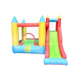 Indoor/Outdoor Inflatable Bounce House Castle with Built-In Slide - Multi Color