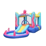 Indoor/Outdoor Inflatable Bounce House with Built-In Water Hose, Ball Pit, and Pool - Octopus Themed - ALEKO