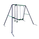 Outdoor Sturdy Child Swing Seat with 1 Swing and 1 Glider - Blue and Green
