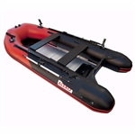 ALEKO® BTF380RBK PRO Fishing Boat Raft 12.5 Feet (3.8 m) with Aluminum Floor 6 Person Inflatable Boat with Fishing Rod Holders and Front Board, Red and Black