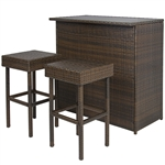 ALEKO BTS3BR Chestnut Rattan Wicker Backyard Bar Set Outside Furniture 3 Piece Set