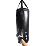 Youth Boxing Bag and Gloves with Safety Hooks - Black - ALEKO