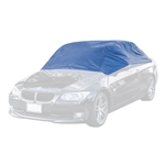 Weather Resistant Half Car Cover Window Protector - Blue Coated Polyester - 112 Inches