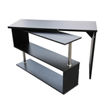 Contemporary Swivel Corner Desk - L-Shaped - Dark Brown - ALEKO