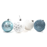 Iridescent Holiday Ornament Variety Pack - Set of 9 - Blue and White - ALEKO