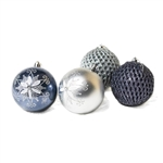 Iridescent Holiday Ornament Variety Pack - Set of 9 - Silver and Gray - ALEKO
