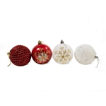 Iridescent Holiday Ornament Variety Pack - Set of 9 - Red and White - ALEKO