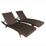 ALEKO Adjustable Patio Wicker Lounge Chairs - Set of 2 - Brown