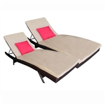 ALEKO Adjustable Patio Wicker Lounge Chairs with cushions - Set of 2 - Brown