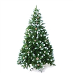 ALEKO® CTPC95H17 Luscious Artificial Indoor 8 Feet (2.44 m) Christmas Holiday Pine Tree With White Tips and Decorative  Pine Cones
