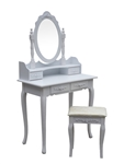 Bedroom Vanity Dressing Table Set with Mirror and Stool - White - ALEKO