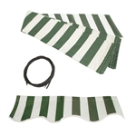 ALEKO® Awning Fabric Replacement for 12x10 Ft Retractable Patio Awning, GREEN and WHITE Stripes