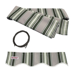 ALEKO® Awning Fabric Replacement for 13x10 Ft Retractable Patio Awning, MULTI STRIPE GREEN