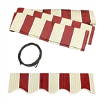 ALEKO® Awning Fabric Replacement for 16x10 Ft Retractable Patio Awning, MULTI STRIPE RED