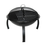 Classic Round Steel Fire Pit with Flame Retardant Lid - Black - 22 Inches - ALEKO
