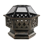 Hex Shaped Steel Fire Pit - Distressed Bronze - Medium - ALEKO