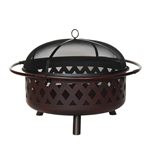 Steel Wave Pattern Fire Pit Bowl with Log Grate and Poker 36 Inches - Bronze - ALEKO
