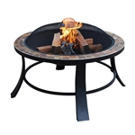 Round Steel Fire Pit Mosaic Slated Table Top - ALEKO