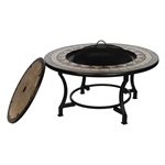 Steel Fire Pit Table Bowl with Mosaic Tile - 20 inches - ALEKO