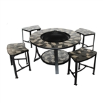 Round Brown Tile Table and Chairs with Fire Bowl - ALEKO