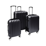 ALEKO 3-Piece Black ABS Luggage Travel Suitcase Bag Set With Lock