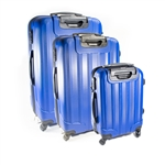 ABS Luggage Travel Suitcase Set with Lock - 3 Piece - Embossed Stripe - Dark Blue - ALEKO