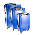 ABS Luggage Travel Suitcase Set with Lock - 3 Piece - Multi Stripe - Dark Blue - ALEKO