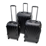 ABS Luggage Travel Suitcase Set with Lock - 3 Piece - Art Deco Pattern - Black - ALEKO