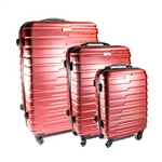 ABS Luggage Travel Suitcase Set with Lock - 3 Piece - Horizontal Stripe - Burgundy - ALEKO