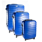 ABS Luggage Travel Suitcase Set with Lock - 3 Piece - Horizontal Stripe - Dark Blue - ALEKO