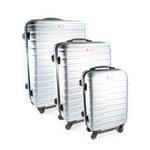 ABS Luggage Travel Suitcase Set with Lock - 3 Piece - Horizontal Stripe - Silver - ALEKO