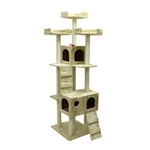 ALEKO&reg; MP-02 73 inch Height Cat Tree Condo Scratching Post<br>Colors: Beige, Gray