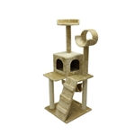 ALEKO&reg; MP-07 47 inch Height Cat Tree Condo Scratching Post<br>Colors: Beige