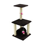 ALEKO&reg; MP-10 33 inch Height Cat Tree Condo Scratching Post<br>Colors: Brown, Cream
