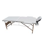 Cushioned Adjustable 2 Section Folding Portable Massage Table - 82 x 33.5 Inches - White - ALEKO
