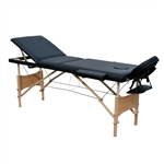 Cushioned Adjustable 3 Section Folding Portable Massage Table - 82 x 33.5 Inches - Black - ALEKO