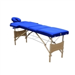 Cushioned Adjustable 3 Section Folding Portable Massage Table - 82 x 33.5 Inches - Blue - ALEKO