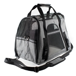 Portable Heavy Duty Pet Travel Shoulder Carrier Bag - Gray and Black - ALEKO