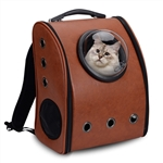 Window Astronaut Dome Pet Backpack - Brown - ALEKO