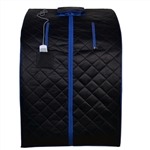 ALEKO PIN15BKBL Personal Folding Portable Home ETL Infrared Sauna with Folding Chair and Foot Pad, Black with Blue Trim Color