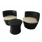 ALEKO  RF02AP Indoor Outdoor 3 Piece Rattan Furniture Set, Black Color Set with Cream Color Cushions